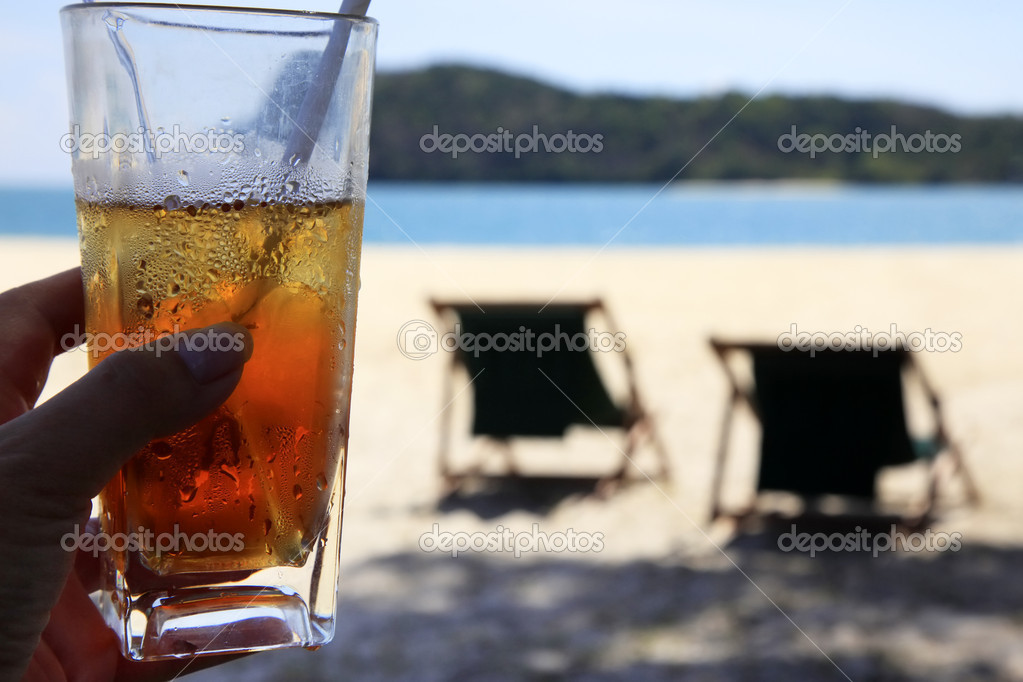 Cocktail on a beach and two chairs for rest — Stock Photo #6163782