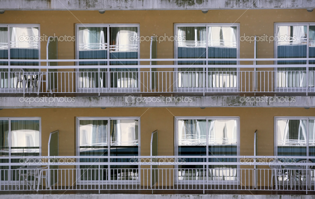 Hotel windows background with balconys  Stock Photo #6165334