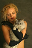 Portrait with a cat — Stock Photo