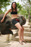 Elephant and the girl — Stock Photo