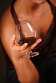 Glass with a red wine — Stock Photo