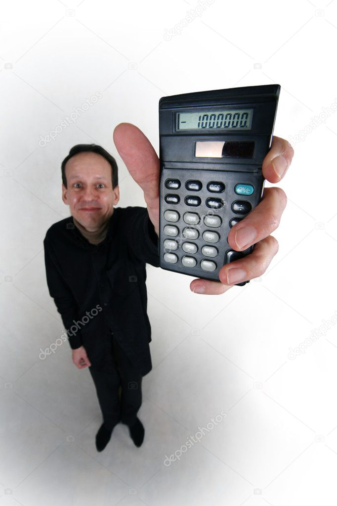 Adult man in black suit with calculator in hand on white background  Stock Photo #6172347