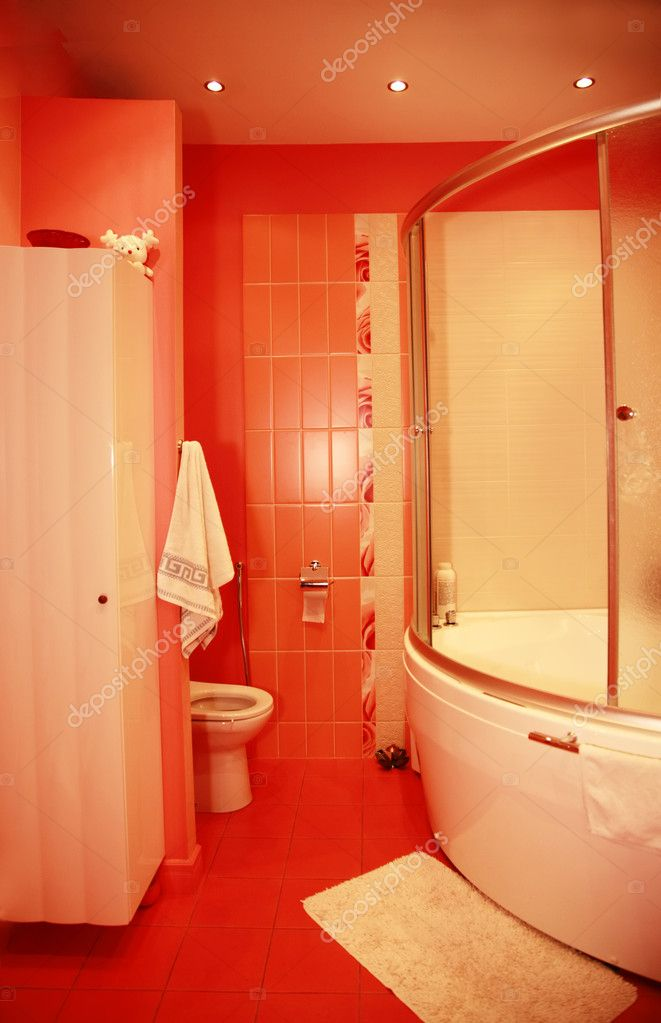 Modern design interior of red bathroom — Stock Photo #6172682