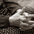 Hands of the elderly woman - Stockfoto