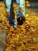 Adam sarı yapraklar üzerinde gider — Stok fotoğraf