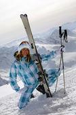 Skier girl — 图库照片