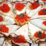Pancakes with caviar — Stock Photo