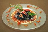 Macaroni with seafoods — Stock Photo
