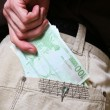 Pocket with money — Stock Photo