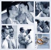 Collage of nine wedding photos — ストック写真