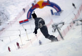 Snowboarder riding fresh powder snow — Stock Photo