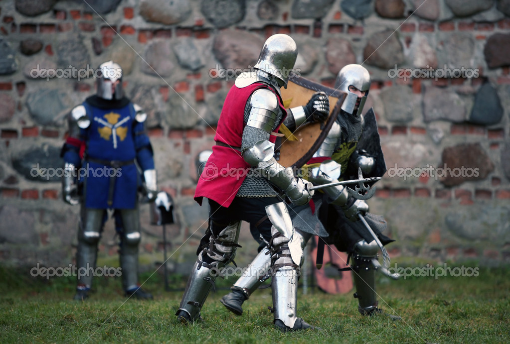 Struggle medieval knights. Show in Kaunas  Stock Photo #6337647