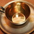 Silver coffee cup - Stock Photo