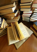 Many old books — Stock Photo