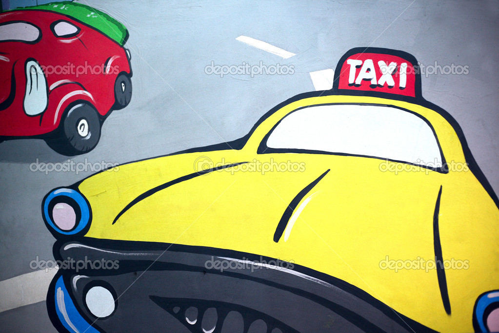 The image of a taxi drawn by a paint on a wall — Stock Photo #6708343