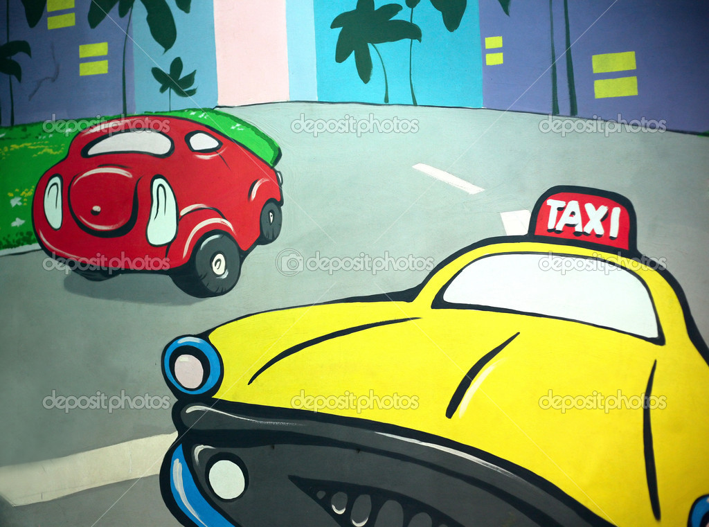 The image of a taxi drawn by a paint on a wall  Stok fotoraf #6708361