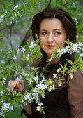 Portrait in a cherry garden — Stock Photo