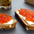 Foto de Stock  : Sandwiches With Red Caviar