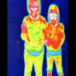 Thermography screen with two girls — Stock Photo