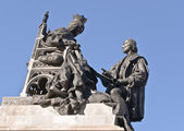 Königin isabella und christopher columbus in granada — Stockfoto