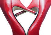 Szczegóły czerwone buty tworzących serce — Zdjęcie stockowe