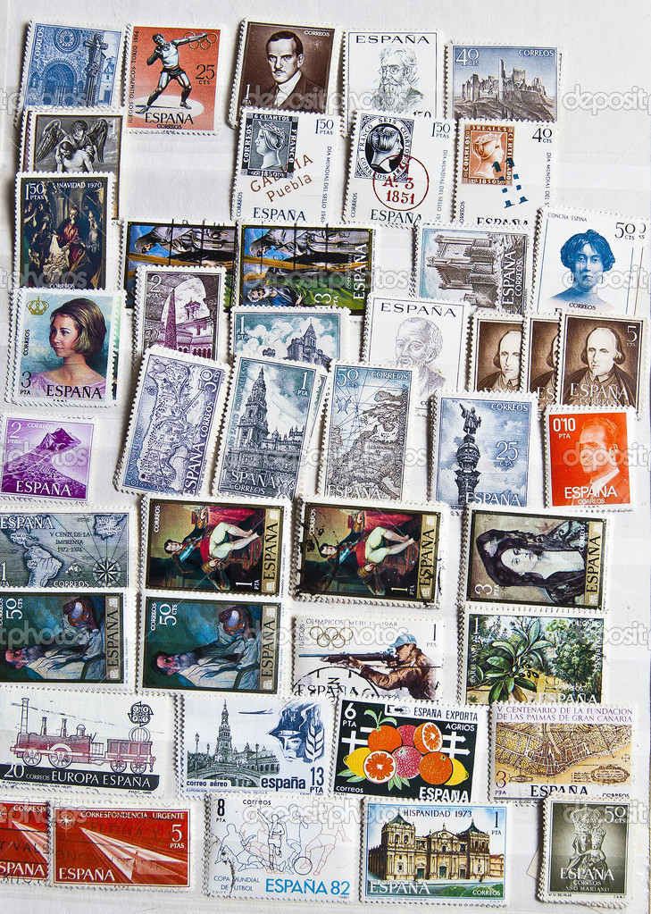 Collection of stamps from Spain — Stock Photo #6166234
