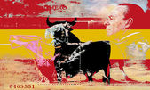 Illustration of bullfighting in the colors of the flag of Spain — Stock Photo
