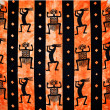 Ethnic figures between stripes and with orange background — Photo