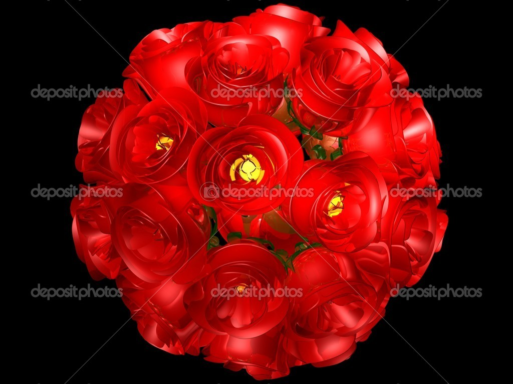 3D image of red roses in bouquet isolated over black — Stock Photo #6293742