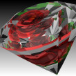 Stock Photo: 3D diamond with rose