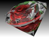 3D diamond with rose — Stock Photo