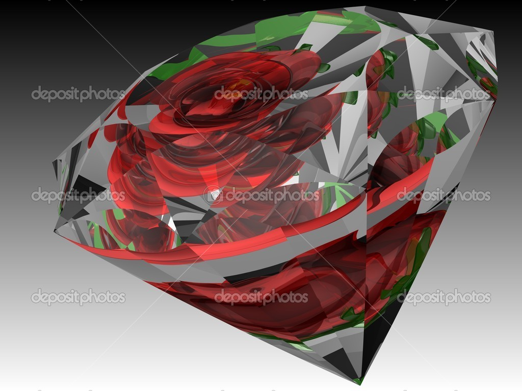 3D image of rose's reflections inside the diamond — Foto Stock #6334899