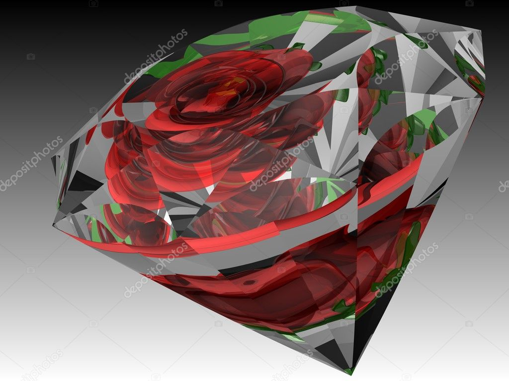 3D image of rose's reflections inside the diamond — 图库照片 #6334899