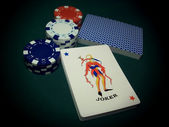 Joker Card With Poker Chips — Stock Photo
