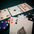 Flop Texas Hold 'Em Cards And Chips — Stock Photo #6161604