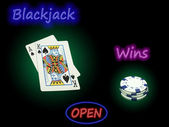 Open Blackjack Wins — Stock Photo