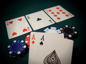 The Flop Texas Hold 'Em Cards And Chips — Stock Photo