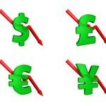Financial crisis dollars down — Stock Photo #6350043