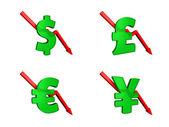 Financial crisis dollars down — Stock Photo