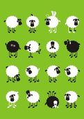 Sheep, good and different # 04 — Stock Vector