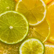 Stock Photo: Slices of the orange, the lime and the lemon