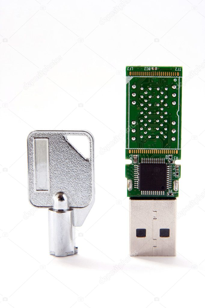 Key and USB flash card — Stock Photo #6478182