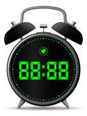 Classic alarm clock with digital display — Stock Vector