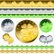 Stock Vector: Shamrock token coins set