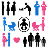Family and baby icon set — Stockvektor