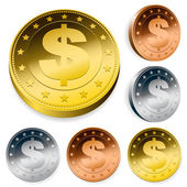 Dollar currency token coins set — Stock Vector