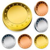 Glänzende token münzen set mit textfreiraum — Stockvektor