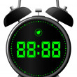 Stock Vector: Classic alarm clock with digital display