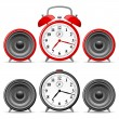 Alarm clock with speakers — Imagen vectorial