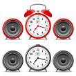 Stock Vector: Alarm clock with speakers
